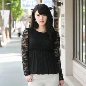 ♥พร้อมส่ง♥ เสื้อลูกไม้ สีดำ ใต้อกลงไปเป็นผ้าชีฟองจีบ แบบหรูสง่างาม (XL) QF11171