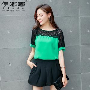 เสื้อชีฟอง ช่วงไหล่ถึงแขนตัดต่อด้วยผ้าลูกไม้สีดำเพิ่มดีเทลให้กับเสื้อ สีชมพู/สีเขียว (XL,2XL,3XL,4XL) E3513