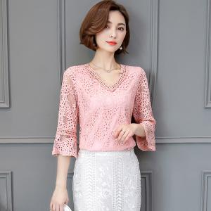 """♥พร้อมส่ง♥ เสื้อลูกไม้ คอวี สีชมพูแสนสวย 4XL อก 44"""" (A~1234)"""