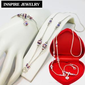Inspire Jewelry ,ชุดเซ็ทสร้อยคอ และสร้อยข้อมือ ห้อยหัวใจ ลงยาคุณภาพ หุ้มเงินแท้ พร้อมกล่องกำมะหยี่สวยหรูตามแบบ