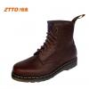 รองเท้าผู้ชาย | รองเท้าแฟชั่นชาย รองเท้าบูทหนัง ทรง Dr.Martens แบรนด์ ZTTO แฟชั่นเกาหลี (มีพร้อมส่ง 1 คู่ สีกาแฟ เบอร์ 42)