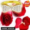 Inspire Jewelry ,แหวนรูปโบว์ฝังเพชรสวิส งาน Design ตัวเรือนหุ้มทองแท้ 100% 24K สวยหรู พร้อมกล่องกำมะหยี่สวยหรู สำหรับคนพิเศษ ใส่เอง เป็นของขวัญของฝาก วาเลนไทน์ วันเกิด ตรุษจีนฯลฯ