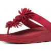 FITFLOP RED SUEDE SKY ROCKET TOE POST SANDALS