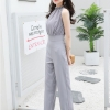 ชุดจั๊มสูทกางเกงขายาวทำงานผู้หญิงแฟชั่นแขนกุด สีเทา ใส่สบาย สวยหรู น่ารักๆ