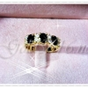 แหวนพลอยคั่นเพชรสองเม็ดสลับ gold plated 0.5microns