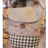 กระเป๋าสะพายใบเล็กผ้าญี่ปุ่น สีน้ำตาลลายจุดต่อดอกและลายสก๊อต(สายปรับได้)