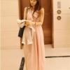 """""""พร้อมส่ง""""เสื้อผ้าแฟชั่นสไตล์เกาหลีราคาถูก Brand God is girl แม๊กซี่เดรสแขนกุด คอวี จั๊มเอว มีซับในช่วงกระโปรง -สีชมพู"""