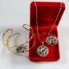 INSPIRE JEWELRY ชุด 3 ชิ้นมี จี้ แหวน และ กำไลประดับเพชรสวิส และพลอยนพเก้า หยินหยาง ชุบทองแท้ 100%