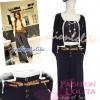 ไซส์38 [เอาใจสาวอวบ] LPB269-38 Wide Pants กางเกงขาบาน/กางเกงกระโปรง เอวสูงเก็บหน้าท้องดีสวยผ้านอกไม่ต้องรีด สีดำ