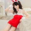 พร้อมส่งชุดซานต้าหญิงสายเดี่ยวสีแดงเนื้อผ้ากำมะหยี่