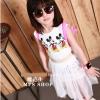 ชุดแฟชั่นเกาหลี ลายมิกกี้ สีขาว เสื้อ+กระโปรง11(120) 15(140)