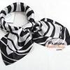 ผ้าพันคอ ผ้าคาดผมเนื้อไหมญี่ปุ่น : สีดำขาว MJ0015