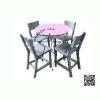 WHC-01-3 โต๊ะกลม Center พร้อมเก้าอี้ ระดับมัธยม (1 ชุดประกอบด้วย โต๊ะสี 1 ตัว เก้าอี้ สีเทา 4 ตัว)