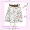 พร้อมเข็มขัดเก๋ ถอดแยกใส่ได้ แบบCop Seneda SB155 Scent Skirt กระโปรงย้วยลายฉลุดอกไม้ผ้านอก ทรงสวย เฉดขาวดำ