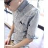 เสื้อผ้าผู้ชาย | เสื้อเชิ้ตผู้ชาย เสื้อเชิ้ตแฟชั่นชาย แขนข้อศอก แฟชั่นเกาหลี