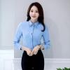 เสื้อเชิ้ตผู้หญิงแขนยาว สีฟ้า คลิปดำ เป็นชุดทำงานชุดยูนิฟอร์มเรียบๆ