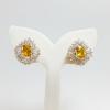 INSPIRE JEWELRY ต่างหูเพชรสวิส ฝังหนามเตย หุ้มทองแท้ 100% or gold plated/diamond clonning 1.5x1.5cm.
