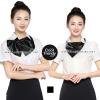 ผ้าพันคอสำเร็จรูป ผ้าไหมซาติน : solid black สีดำ สีพื้น