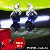"Inspire Jewelry ต่างหูห่วงขาล็อคหลัง สูง 1.5cm. พลอยประจำคนเกิดวันศุกร์ ควรใช้เครื่องประดับ หรือ อัญมณีที่เป็นสีฟ้า หรือ สีน้ำเงิน เรียกว่า ""ปภัสราภรณ์"" ได้แก่ ไพลิน (Blue Sapphire) ดีไซด์ด้วยเพชร CZ พร้อมกล่องกำมะหยี่"