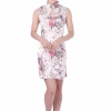 Size S / L / XL ชุดกี่เพ้าสีขาวลายดอกไม้สีออกชมหวานๆสวยมากค่ะเนื้อผ้าลื่นนิ่มสวมใสสบายไม่ร้อน