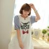 """""""พร้อมส่ง""""เสื้อผ้าแฟชั่นสไตล์เกาหลีราคาถูก Brand Chuvivi เดรสสีขาวสกรีนหน้าแมว คอวี ต่อแขนพองๆลายทางสีฟ้าขาว ไม่มีซับใน น่ารักค่ะ"""