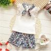 ชุดเสื้อลายดอกไม้แสนหวาน ปกเสื้อประดับมุก + กางเกง + เข็มขัด (สีฟ้า)