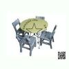 WHC-01-2 โต๊ะกลม Center พร้อมเก้าอี้ ระดับประถม (1 ชุดประกอบด้วย โต๊ะสี 1 ตัว เก้าอี้ สีเทา 4 ตัว)