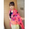 ผ้าพันคอลาย Kiss me : สี Neon pink ผ้า Chiffon 160 x 60 cm