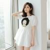 """size L""""พร้อมส่ง""""เสื้อผ้าแฟชั่นสไตล์เกาหลีราคาถูก เดรสสีขาว ด้านหน้าปักเป็นรูปหน้า แขนตุ๊กตาจั๊มปลายแขน เอวแต่งมุก ซิปหลัง มีซับใน"""