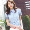 เสื้อเชิ๊ตผู้หญิงแขนสั้น สีฟ้า แฟชั่นสำหรับสาวออฟฟิศ