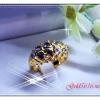 แหวนเพชรซีกโบราณ gold plated 1microns/white gold plated