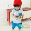 ชุดเด็ก เสื้อ พร้อมกางเกงสีฟ้า 110 120 140