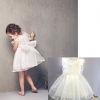 ชุดเดรสราตรี สุดน่ารัก สีขาว มีไซส์ 7(100) 9(110) 11(120) 13(130) 15(140)