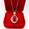 Inspire Jewelry Pendant with gold plated จี้ทับทิมหลังเบี้ยล้อมเพชรหลอดหุ้มทองแท้ 24K