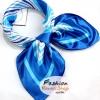 ผ้าพันคอ ผ้าคาดผมเนื้อไหมญี่ปุ่น : สีฟ้า MJ0002