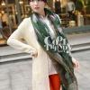 ผ้าพันคอลายนาฬิกา Clock pattern scarf : สีเขียว : ผ้าพันคอ Cotton - size 170x80 cm