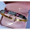 กำไลเพชรสลับเฉียงทับทิม gold plated 5microns/white gold plated