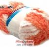 ไหมขนแกะสัมผัสนุ่ม รหัสสี M53 สีขาว-ส้มโอโรส