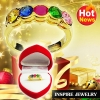 Inspire Jewelry ,แหวนพลอยนพเก้า ฝังล็อคเรียงแถว ตัวเรือน หุ้มทองแท้ 100% 24K สวยหรู พร้อมกล่องกำมะหยี่