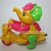 ช้างขี่จักรยานเชือกดึง สีเหลือง
