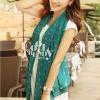 ผ้าพันคอแฟชั่นลายจุด Polka Dot : สี dark green - ผ้าพันคอ Silk Chiffon 160 x 45 cm