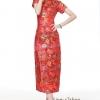 Size M/L/XL/XXL/XXXL ชุดกี่เพ้าสีแดงเนื้อผ้าไหมแขนสั้นแบบยาวลายดอก