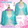 ##อก40-46 #สาวอวบห้ามพลาด# เสื้อคลุมผ้าชีฟองระบายลูกไม้ช่วงปกและปลายแขน หรูหราสวยเก๋ใส่คลุมชุดแซกได้ #สีฟ้า