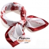 ผ้าพันคอ ผ้าคาดผมเนื้อไหมญี่ปุ่น : ลายดอกไม้สีแดง MJ0019