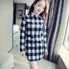 """""""พร้อมส่ง""""เสื้อผ้าแฟชั่นสไตล์เกาหลี ราคาถูก เดรสลายสก็อตสีขาวดำแขนยาว คอตั้งระบายสีขาว ซิปหลัง กระดุมคอ1เม็ด มีซับใน"""