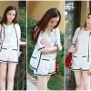 HH42/077 Best Seller item!! Premium lace grade Autumn White Floral Lace set เสื้อนอก+กางเกงขาสั้น