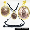 จี้เหรียญพระเจ้าตากสินเนื้อทองแดง เลี่ยมกรอบผ่าหวาย พร้อมเชือกไหมญี่ปุ่นและถุงกำมะหยี่ ของมีจำนวนจำกัด