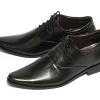 รองเท้าผู้ชาย | รองเท้าแฟชั่นชาย Black Cut Shoes หนังวัวแท้ ขัดเงา