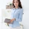 เสื้อเชิ้ตผู้หญิงแขนยาว สีฟ้า ปกแฟชั่น