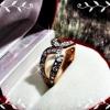 แหวนPink gold 5Microns หน้าเพชรทองคำขาว ตัวเรือนบรอนด์ทอง